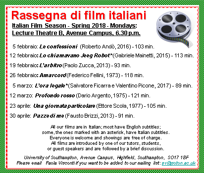 New Italian film season starts on Monday 5th February!